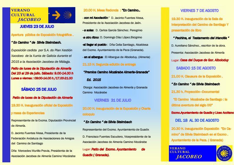Asociación Jacobea de Almería inaugura este jueves su «Verano Cultural Jacobeo»