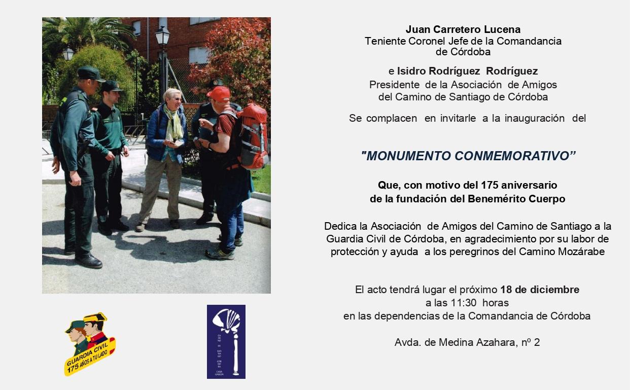 Este miércoles, inauguración del Monolito conmemorativo del 175 aniversario de la Guardia Civil en Córdoba